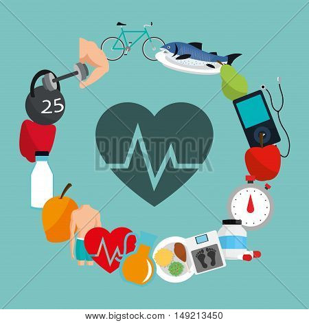 flat design heart cardiogram fitness lifestyle related icons image vector illustration