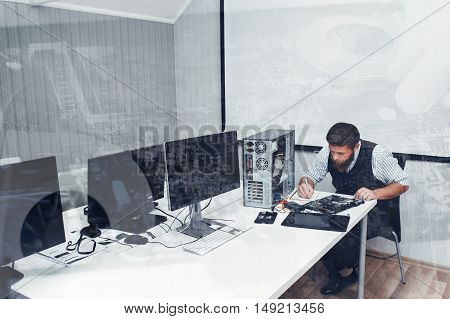 Computer repairing at office, double exposure. Programmer fixing broken PC in open space, copyspace