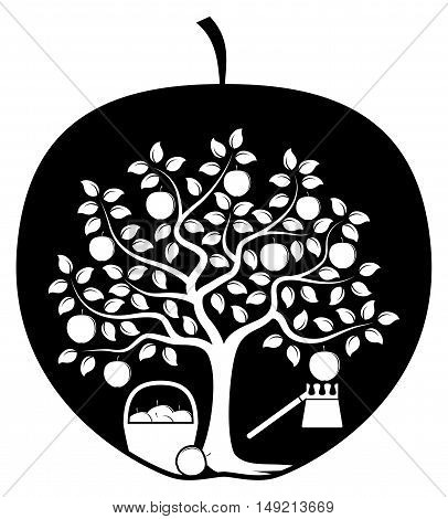 vector apple tree with basket of apples and fruit picker in apple isolated on white background