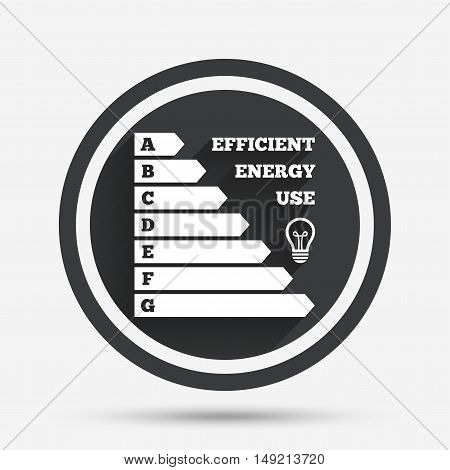 Energy efficiency icon. Electricity consumption symbol. Idea lamp sign. Circle flat button with shadow and border. Vector