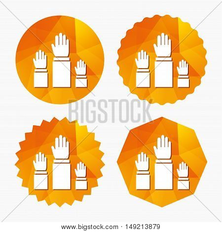 Election or voting sign icon. Hands raised up symbol. People referendum. Triangular low poly buttons with flat icon. Vector