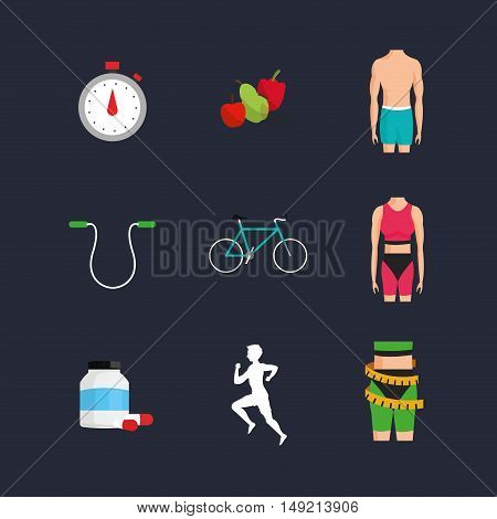 flat design bike with fitness lifestyle related icons image vector illustration