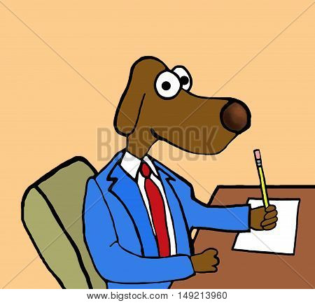 Color business illustration showing business dog sitting at his desk writing a memo.