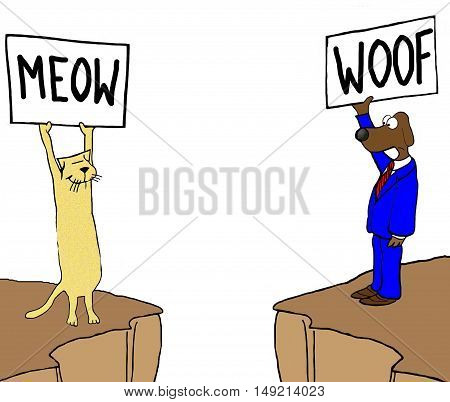 Color illustration of cat and dog trying to communicate, but they speak different languages