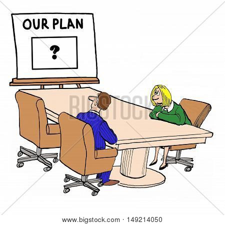Business color illustration showing two businesspeople looking at a confusing, basically blank, business plan.
