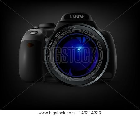 camera with blue lens flare on a black background