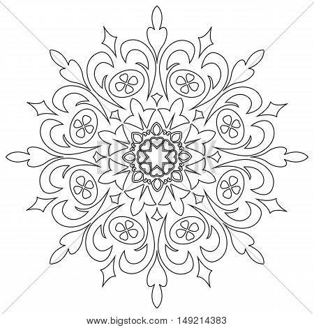 Vector decorative element mandala in black and white.