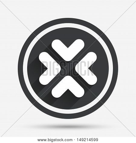 Enlarge or resize icon. Full Screen extend symbol. Circle flat button with shadow and border. Vector