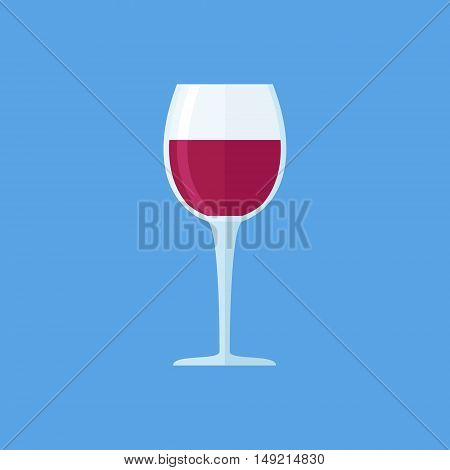 Glass of red wine isolated on blue background. Goblet flat style icon. Vector illustration.