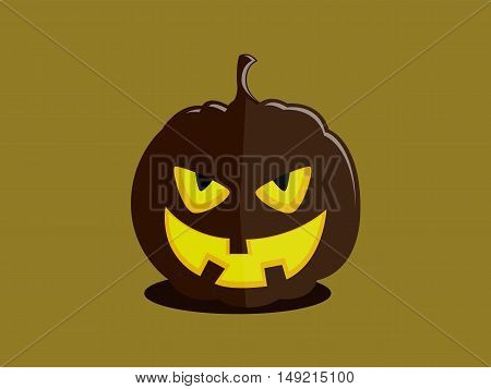 Halloween pumpkin with a cunning evil devil's face on plain background