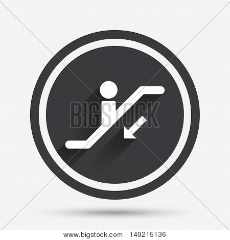 Escalator staircase icon. Elevator moving stairs down symbol. Circle flat button with shadow and border. Vector