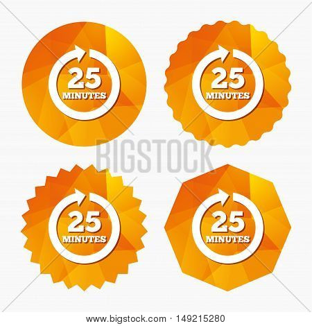 Every 25 minutes sign icon. Full rotation arrow symbol. Triangular low poly buttons with flat icon. Vector