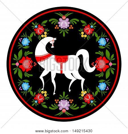 Gorodets Painting White Horse And Floral Elements. Russian National Folk Craft. Traditional Decorati