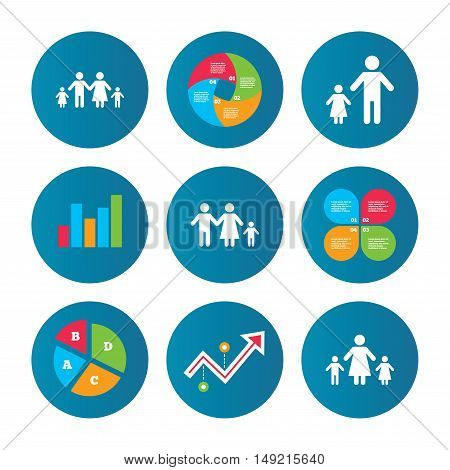 Business pie chart. Growth curve. Presentation buttons. Family with two children icon. Parents and kids symbols. One-parent family signs. Mother and father divorce. Data analysis. Vector