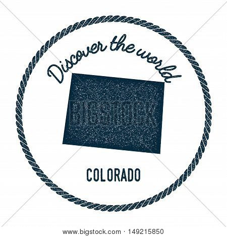 Colorado Map In Vintage Discover The World Rubber Stamp. Hipster Style Nautical Postage Stamp, With