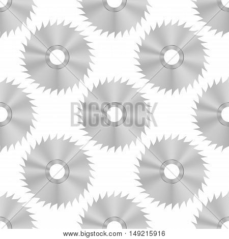 Circular Saw Steel Disc Seamless Pattern on White Background