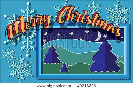 Congratulations on Christmas cardboard vector illustration in blue tones