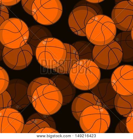 Basketball 3D Seamless Pattern. Sports Accessory Ornament. Basketball Volume Background. Orange Sphe