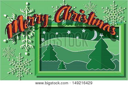 Congratulations on Christmas cardboard vector illustration in shades of green
