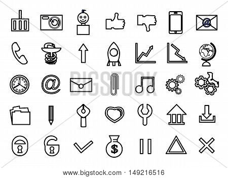Set icons outline black for site vector illustration
