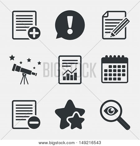 File document icons. Document with chart or graph symbol. Edit content with pencil sign. Add file. Attention, investigate and stars icons. Telescope and calendar signs. Vector