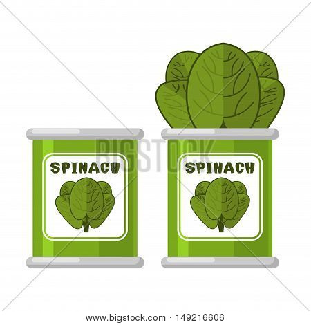 Spinach In Tin. Useful Herbs. Green Lettuce Leaves. Dietary Vegetarian Food