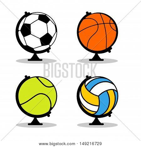 Sports Globe Set. Balls In Earth Sphere. Basketball And Football. Tennis And Volleyball. Planet Spor