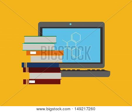 flat design computer with science related icons image vector illustration