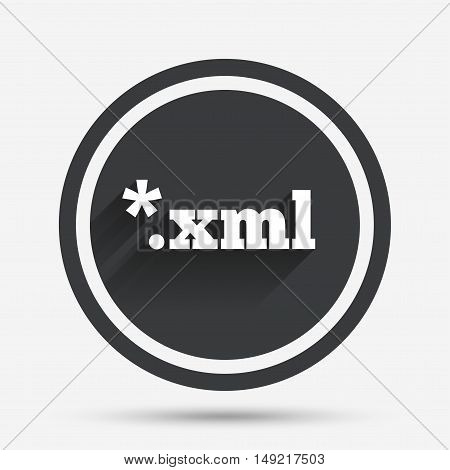 File document icon. Download XML button. XML file extension symbol. Circle flat button with shadow and border. Vector