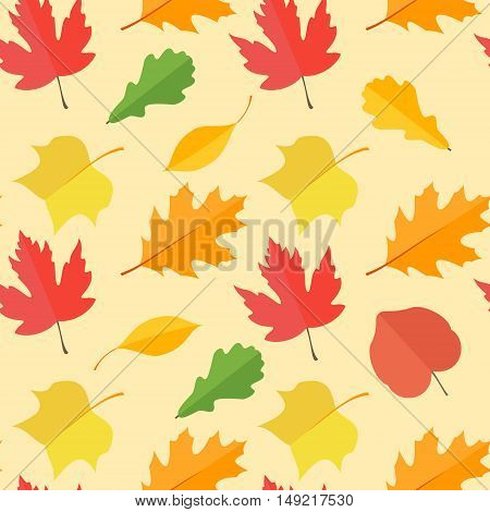 Seamless pattern with colorful autumn leaves on yellow background. Vector texture.