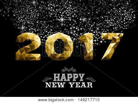 New Year 2017 Gold Low Poly Greeting Card Design