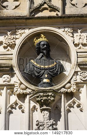 Replica Bust Of Charles I On Chichester City Market Cross