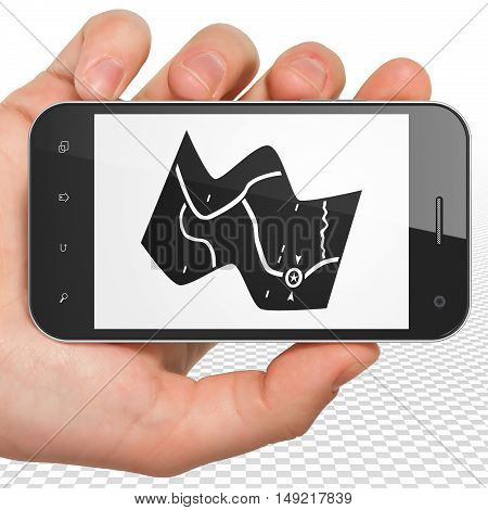 Tourism concept: Hand Holding Smartphone with black Map icon on display, 3D rendering