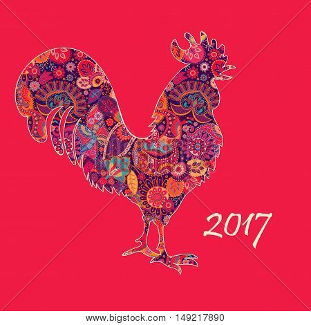 Vector illustration of rooster, symbol of 2017 by Chinese calendar. Silhouette of red cock, decorated with Paisley pattern. Big Red Rooster