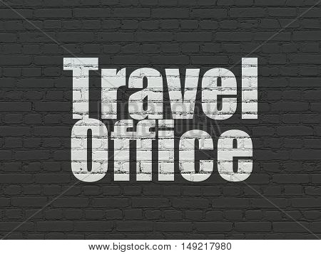 Travel concept: Painted white text Travel Office on Black Brick wall background