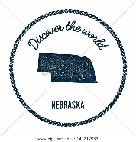 Nebraska Map In Vintage Discover The World Rubber Stamp. Hipster Style Nautical Postage Stamp, With