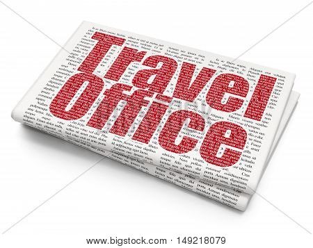 Travel concept: Pixelated red text Travel Office on Newspaper background, 3D rendering