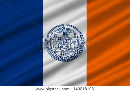 Flag of New York City or simply New York is the most populous city in the United States. 3D illustration