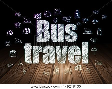 Travel concept: Glowing text Bus Travel,  Hand Drawn Vacation Icons in grunge dark room with Wooden Floor, black background