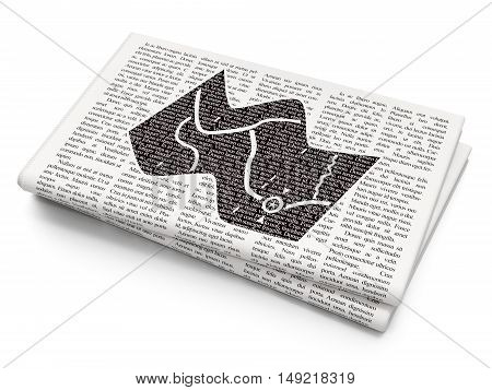 Travel concept: Pixelated black Map icon on Newspaper background, 3D rendering