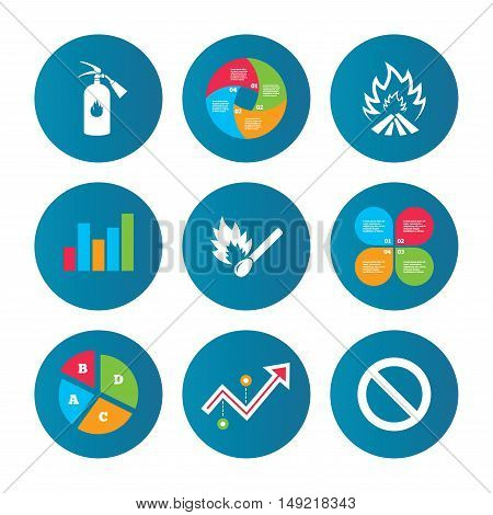 Business pie chart. Growth curve. Presentation buttons. Fire flame icons. Fire extinguisher sign. Prohibition stop symbol. Burning matchstick. Data analysis. Vector