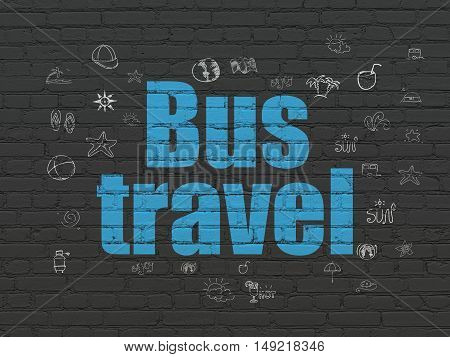 Tourism concept: Painted blue text Bus Travel on Black Brick wall background with  Hand Drawn Vacation Icons