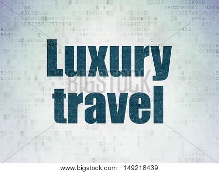 Tourism concept: Painted blue word Luxury Travel on Digital Data Paper background