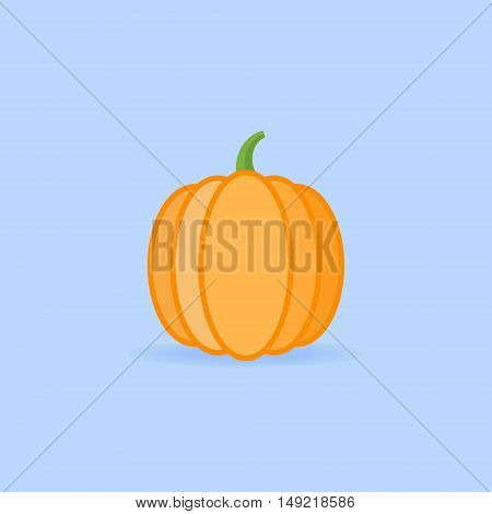 Pumpkin isolated on blue background. Flat style icon. Vector illustration.