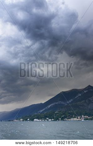 Stormy clouds over Como Lake, Italy, Europe