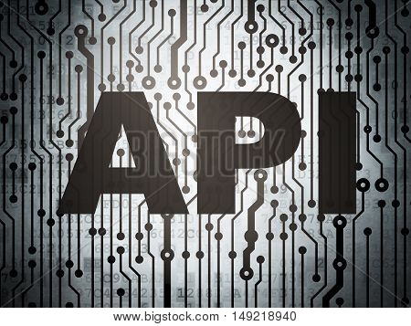 Programming concept: circuit board with  word Api, 3D rendering