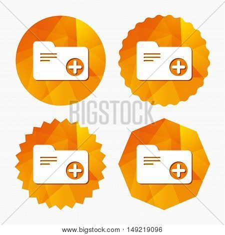 Add document folder sign. Accounting binder symbol. Bookkeeping management. Triangular low poly buttons with flat icon. Vector