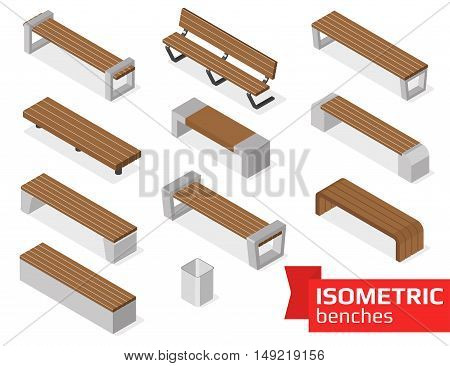 Isometric benches set isolated on white. Vector illustration