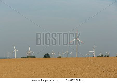 Eco power, wind turbines in the countryside