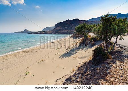 Sandy beach of eastern part of Crete island, Greece